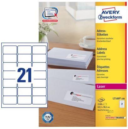 Avery Zweckform etikete L7160-100, 63.5 x 38.1 mm, bele