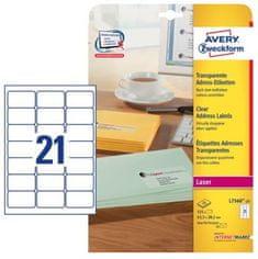 Avery Zweckform etikete L7560-25, 63,5 x 38,1 mm, prozirne, 25 listova