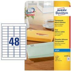 Avery Zweckform etikete J4720-25, 45,7 x 21,2 mm, prozorne, 25 listov