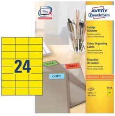 Avery Zweckform Etikete 3451 70X37, rumene, zavitek 100 listov
