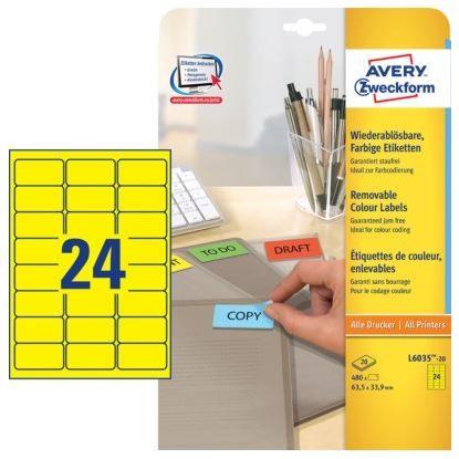Avery Zweckform Etikete L6035-20, 63.5 x 33.9 mm, 480 kom, Stick&Lift, rumene