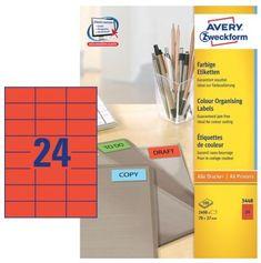 Avery Zweckform Etikete 3448 70X37, crvene, 100 listova