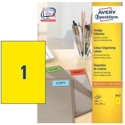 Avery Zweckform Etikete 3473 210X297, žute, 100 listova