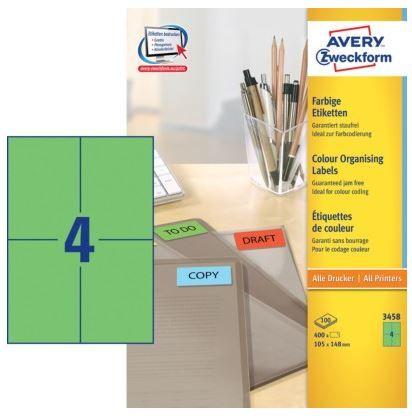 Avery Zweckform Etikete AVery Zweckform 3458 105X148, zelene, zavitek 100 listov