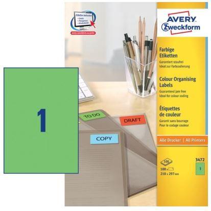 Avery Zweckform Etikete 3472 210X297, zelene 100 listova