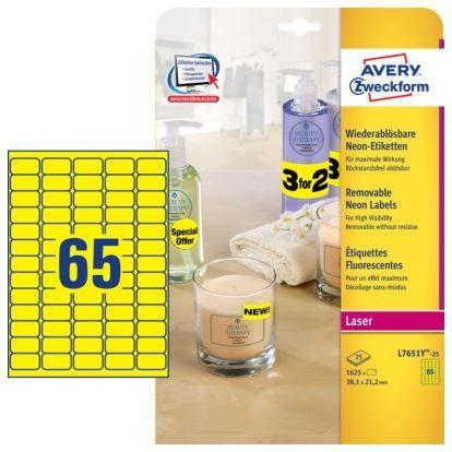 Avery Zweckform Etikete L7651Y-25 38,1 x 21,2 mm, neon rumene