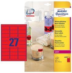 Avery Zweckform etikete L6003-25, 63,5 x 29,6 mm, 675 kom, Stick&Lift, neon crvene