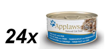 Applaws mokra karma dla kota Tuna Fillet & Crab 24 x 70g