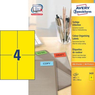 Avery Zweckform Etikete 3459 105X148, žute, 100 listova