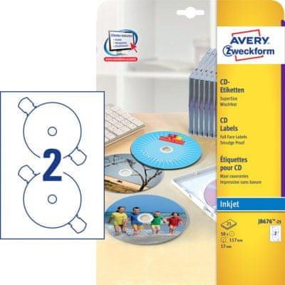 Avery Zweckform Etikete J8676-25 za označevanje CD/DVD medijev, super sizeEtikete J8676-25 za označevanje CD/DVD medijev, super size