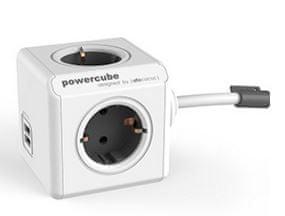 Allocacoc PowerCube razdelilec s podaljškom in USB vtičnico, siva, 3 m