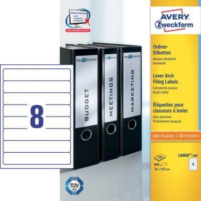 Avery Zweckform etikete L6060-100, 192 x 34 mm, za registratore