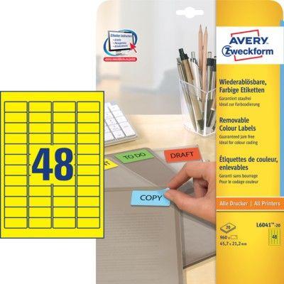 Avery Zweckform etikete L6041-20, 38,1 x 21,2 mm, žute