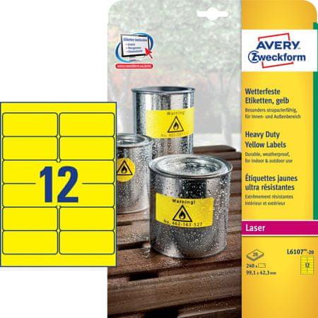 Avery Zweckform etikete L6107-20, 99,1 x 42,3 mm, rumene, odporne