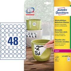 Avery Zweckform etikete L4716REV-20, Ø 30 mm, bele, odporne