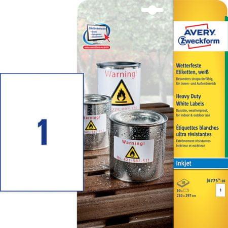 Avery Zweckform etikete J4775-10, 210 x 297 mm, bijele, otporne