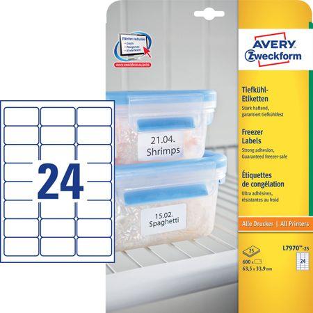 Avery Zweckform etikete L7970-25, 63,5 x 33,9 mm, za zamrzovalnike