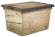 Jelenia Plast škatla za shranjevanje s kolesi Old Letter, 45 l