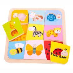 Bigjigs Toys Vkladacie puzzle - 9 zvieratiek