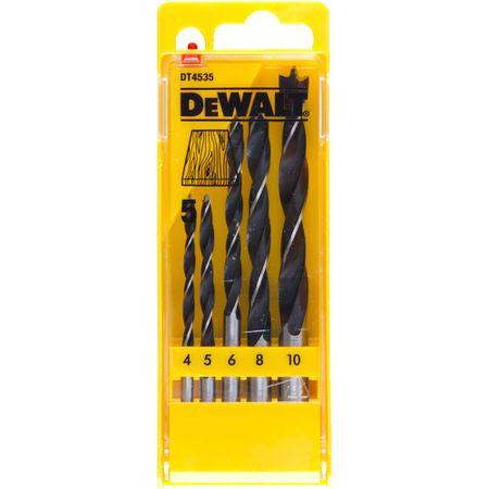 DeWalt 5-delni set svedrov za les 4, 5, 6, 8, 10 mm (DT4535)