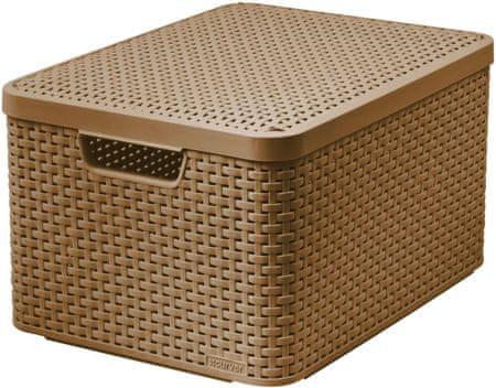 CURVER Rattan Style box s vekom L, svetlo hnedá