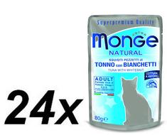 Monge NATURAL saszetka tuńczyk w galarecie ze śledziem dla kotów 24 x 80g