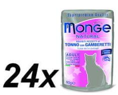 Monge NATURAL saszetka tuńczyk w galarecie z krewetkami dla kotów 24 x 80g