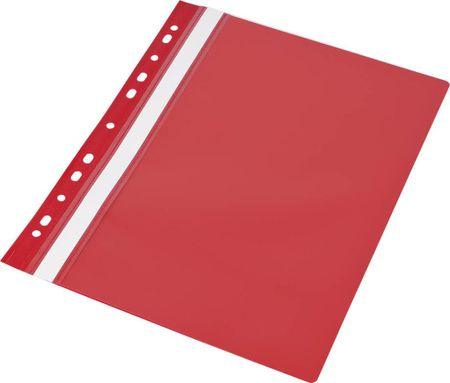 Klipko mapa s sponko in perforacijo, 10 kosov rdeča
