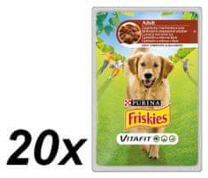 Friskies mokra hrana za odrasle pse VitaFit, janjetina i mrkva u umaku, 20 x 100 g