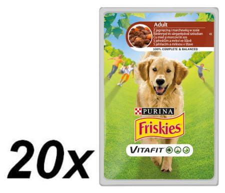 Friskies VitaFit Adult Alutasakos kutyaeledel, Bárány és Sárgarépalé, 20 x 100 g
