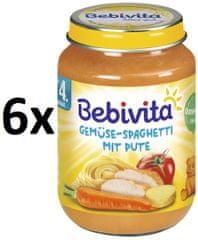 Bebivita Zelenina - špagety s morčacím mäsom - 6x190g