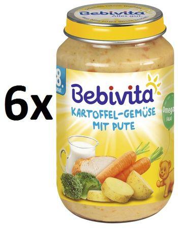 Bebivita Brambory se zeleninou a krůtím masem - 6x220g