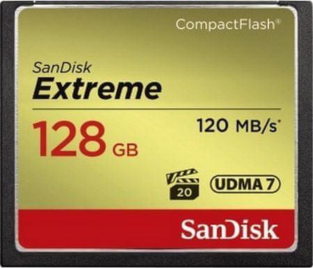 SanDisk pomnilniška kartica CompactFlash Extreme, 128 GB, VPG-20 (SDCFXSB-128G-G46)