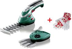 Bosch akumulatorske škarje za grmičevje in travo ISIO 3 + rokavice Laura Ashley (060083310M)