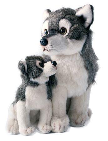 Rappa Plyšový vlk s mláďaťom sediaci, 27cm