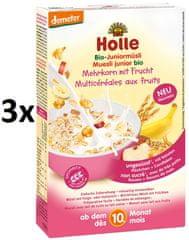 Holle Bio Junior viaczrnné müsli s ovocím - 3 x 250g