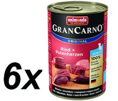 Animonda mokra hrana za mlade pse GranCarno, govedina + pureće srce, 6 x 400 g