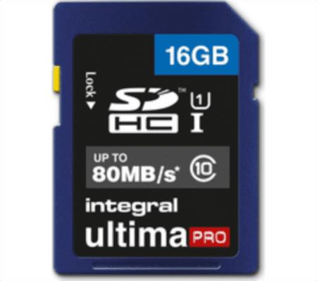 Integral spominska kartica SDHC UltimaPro 16 GB Class 10 80MB UHS-I U1 (INSDH16G10-80U1)