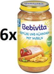 Bebivita Zelenina s kuracím mäsom a rezancami - 6 x 250g