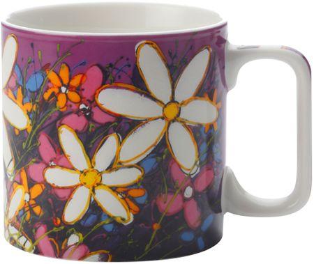 Maxwell & Williams šalica Art Love Life, Bijelo cvijeće, 350 ml, ljubičasta