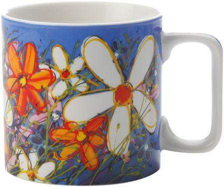 Maxwell & Williams skodelica Art Love Life, Bele rože, 350 ml, modra