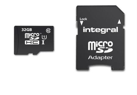 Integral spominska kartica MicroSDHC 32 GB, Class 10 U1 + adapter