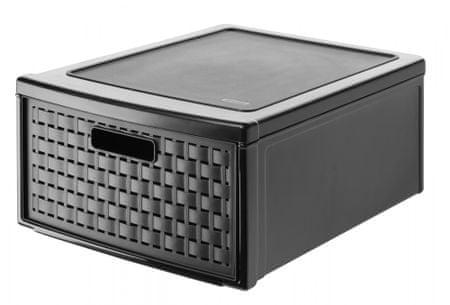 Rotho Úložný box šuplík Country 19,2 l, černý