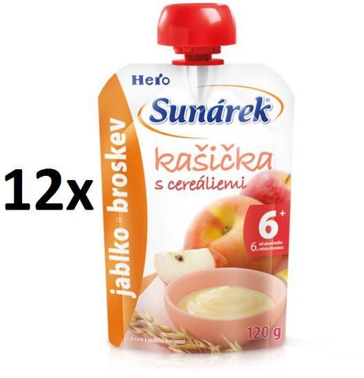 Sunárek Kašička s cereáliemi jablko a broskev 12x120g