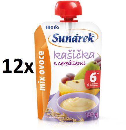 Sunárek Kašička s cereáliami mix ovocia 12x120g