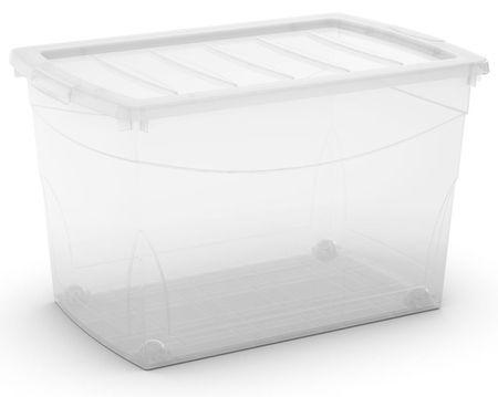 Kis škatla za shranjevanje s kolesi Omni Box, 60 l, prozorna