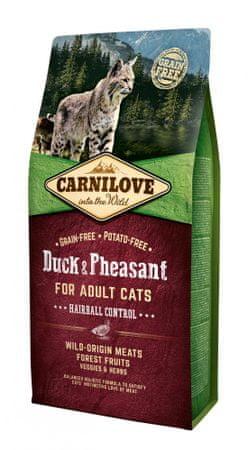 Carnilove sucha karma dla kota Duck & Pheasant for Adult Cats – Hairball Control 6 kg