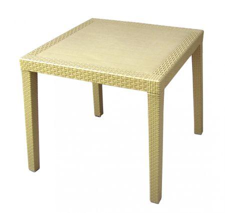 MEGA PLAST MP696 RATAN LUX stôl, polyratan, 71x75,5 krémová