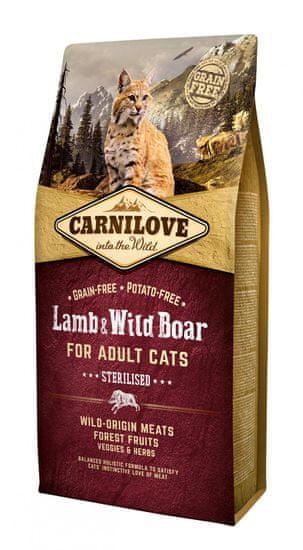 Carnilove Lamb & Wild Boar for Adult Cats – Sterilised 6 kg