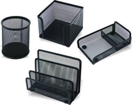 Net 4-delni namizni pisarniški set, črn